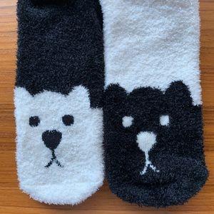 American Eagle Crew socks fuzzy bears